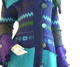 ON SALE Medium 10-12/ Upcycled Sweater Coat/ Zig Zag/ Purple, Turquoise, Olive/Fully Lined