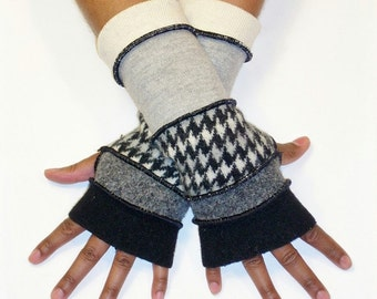 Fingerless Gloves, Upcycled Arm warmers, (Black/Grey/Black,Grey,Cream Houndstooth/Light Grey/Winter White)