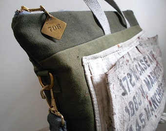 Work apron, military canvas tote laptop messenger bag, Carter Jones Lumber Akron OH - men unisex - eco vintage fabrics