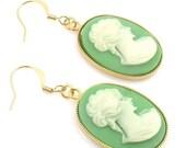 ON SALE Cameo Earrings,Green Cameo Earrings, Vintage Cameo Earrings, Green and Gold Earrings