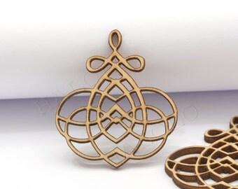 4pcs handmade laser cut wooden charm pendant round wood cut (WB-132)