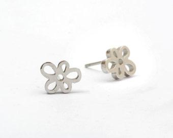 Flower Stainless Steel Earring Post Finding (EE490)