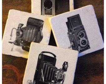 Vintage Camera stone coaster set