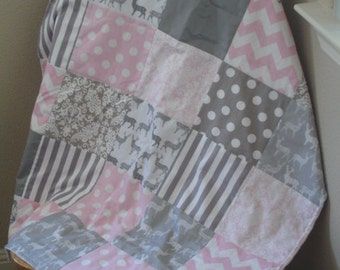 Meadow Deer Gray Mixed Geometrics Baby Pink and Gray Minky Blanket 32 x 38 READY TO SHIP On Sale