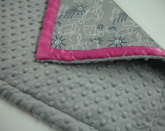 Elephants You Are My Sunshine Navy Gray and Hot Pink Satin Trimmed Minky Lovey 19 X 19 READY TO SHIP On Sale