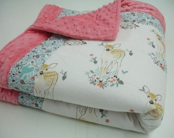 Fawn in Winter Minky Comforter Blanket MADE TO ORDER
