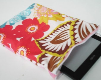 Summer Totem Makeup or Kindle Case Zippered Pouch with Minky READY TO SHIP On Sale