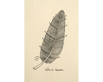 Feather Illustration Print Boho Chic Home Decor Ink Drawing Black & White Wall Art Wes Anderson Fan Art Arrow Boho Wall Art Feather Print