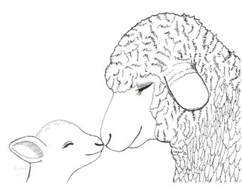 Lamb Nursery Art Sheep Nursery Decor Cute Lamb Art Print Sheep Nursery Art Lamb Farm Animal Nursery Decor Black and White Nursery Wall Art