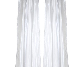Luxury White Satin Pole Pocket Drapes with Thermal Suede Lining