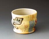 Tea Bowl with Leaf Motif, Handmade Ceramic Tea Cup, Tea Cups, Drinkware