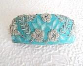 Aqua beaded hair barrette, embroidered barrette, ,fabric barrette, hair accessory, fashion accessory