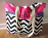Teacher Bag - Teacher Tote Bag With Pockets - Monogram Teacher Bag - Reversible Teacher Tote Bag - Personalized Teacher Gifts