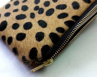 Cheetah Clutch - Leather Clutch - Animal Print Clutch - Hair on Hide Leather Clutch