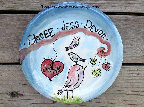Custom family tree bird plate kiln fired pottery gift wedding baby birds mom dad kids adoption keepsake gift plates personalized plate