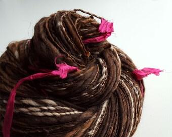 Harry Potter Inspired - NOSEBLEED NOUGAT - Handspun Art Yarn. Browns, Caramel, Beads, Pink Silk. Luxury Knitting, Fantasy. 230 yds, 3.88 oz