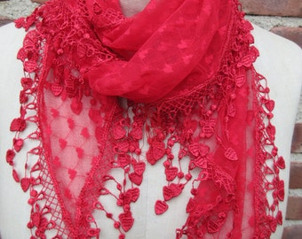 Red Heart Lace  scarf dramatic Fringed Sheer Bohemian Shawl romantic Holiday Soft lightweight Boho chic neck Wrap bespoke accessory gift