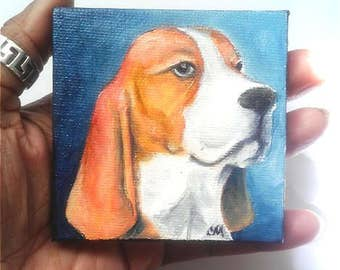 "Mini Oil Painting Beagle Dog Portrait 3""x 3"" READY to SHIP"
