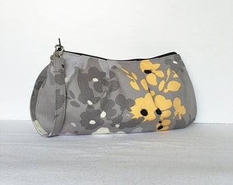Pleated Wristlet Zipper Pouch // Clutch - Yellow Floral Splat