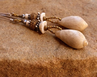 SALE! + Pre Columbian Shell Earrings + Ancient Shell Beads + Mauritanian Shell + Antique Burmese Silver + Antique Steel Cut Beads