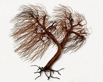 Windswept Recycled Copper wire tree Wall  sculpture - FREE SHIPPING