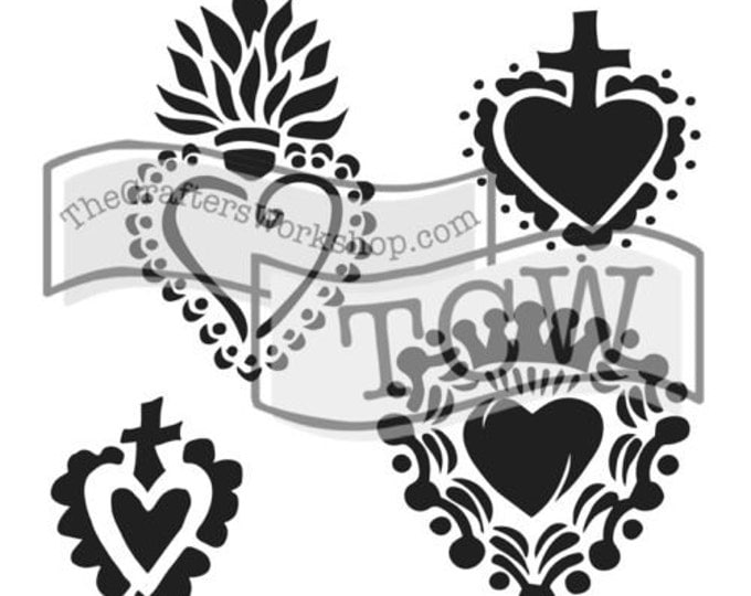 Regal Hearts Stencil: TCW651 6x6 sacred hearts