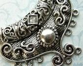 Moon Multi Strand Necklace Component - 1 Piece - Antique Silver Chandelier Necklace Centerpiece Connector (SC0104)