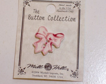 Pink Bow Button, Pink Ceramic Bow Button x 1 piece, Mill Hill Hand-Painted Buttons