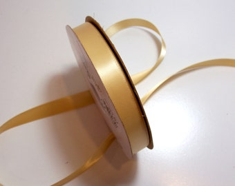 Double-Faced Gold Yellow Satin Ribbon 5/8 inch wide x 9 yards, Offray Golden Ale Ribbon, 50% Off Sale