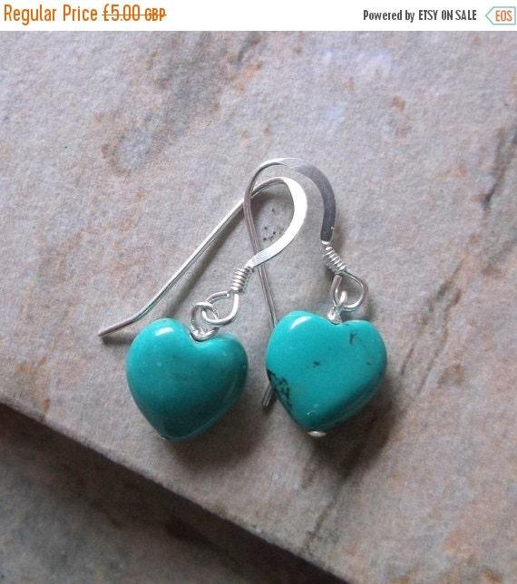September Offer Turquoise Heart on Sterling Silver Earrings