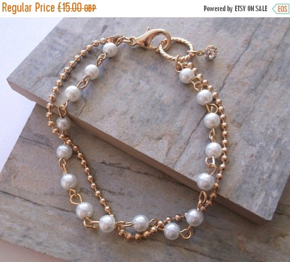 SALE. Glass Pearls and Gold Bracelet