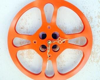 Clock, Movie Reel Clock, Wall Clock, 16mm Metal Movie Reel Clock, Recycled, Upcycled Gift Item #19