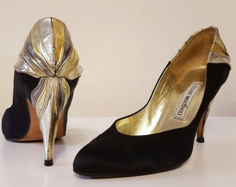 80s 90s gold silver leather black satin pumps heels size 8