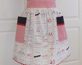 Womens Half Apron with Pockets Cute Kitchen Waist Apron - Food Labels