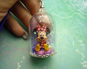Mini Mouse Necklace - Sari Silk Necklace - Mini Mouse Jewelry - Animal Necklace - Mouse Charm