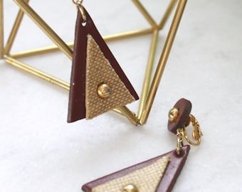 vintage. leather triangle. geometric earrings. clip on. brass. gold. bohemian. boho. dangle drop.