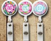 Monogram badge reel, personalized badge clip, lilly inspired badge holder, 12 pattern choices