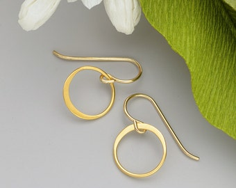 Gold Hoop Earrings, Gold Earrings, 24K Gold Jewelry, Gold Circles, Tiny Gold Hoops, Small Gold Earrings, Gold Drops