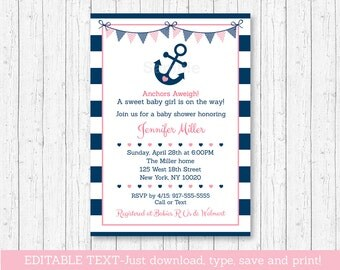 Cute Pink Nautical Baby Shower Invitation / Nautical Baby Shower Invite / Pink & Navy / Girl Nautical / INSTANT DOWNLOAD Editable PDF A132