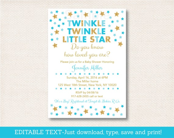 cute twinkle little star baby shower invitation star baby shower