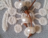 Leather Lariat Baroque Pearl Necklace