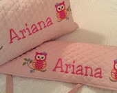 Personalized Crib rail cover and matching pillow - made to match baby's nursery - owl nursery theme