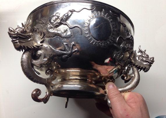 1890 Monumental Wang Hing Export Silver Five Dragon Bowl