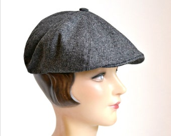 Men's Newsboy Cap in Vintage Charcoal Wool - Size 7 3/8