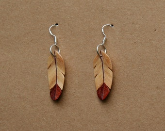 Handcarved Flame Box Elder, Pink Ivory and Purpleheart Wood Feather Earrings J160505
