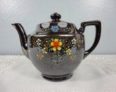 Vintage Redware Teapot - MG Japan - Dark Brown with Floral Design - 4 Cup