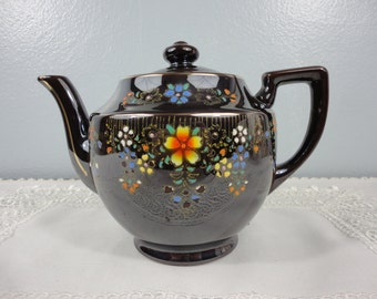 Vintage Redware Teapot - MG Japan - Dark Brown with Floral Design - 4 Cup
