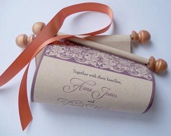 Castle invitations, scroll invitations, burgundy and copper, medieval wedding invitations, set of 15 scrolls
