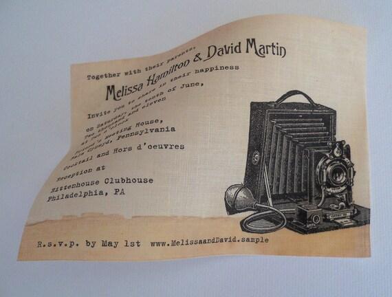 Wedding invitation on linen fabric with vintage camera, rustic vintage wedding invitation, retro urban chic wedding, handmade wedding, 25