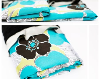 BABY BLANKET / New satin floral print with black minky dimples and black ruffled trim........Beautiful baby gift